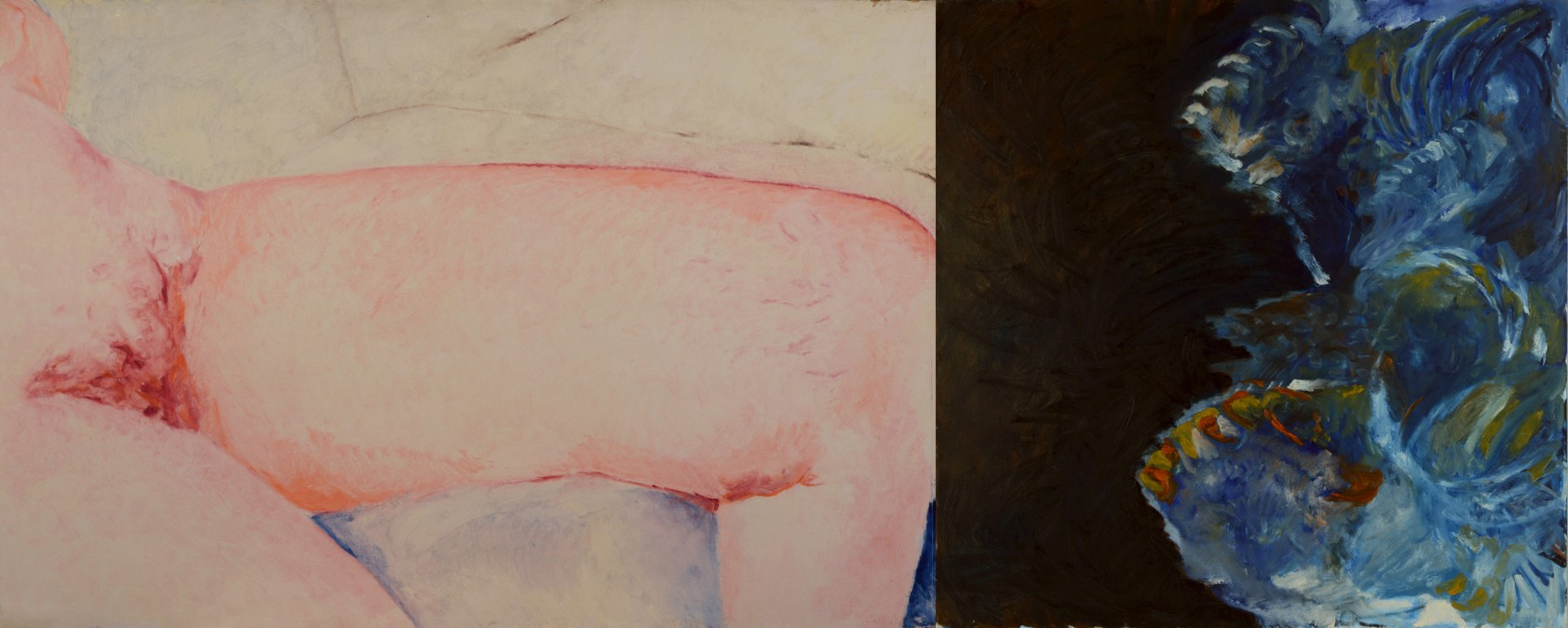 Self Nude 2, oil on paper and canvas, 1989, 100/150 cm, 100/100 cm