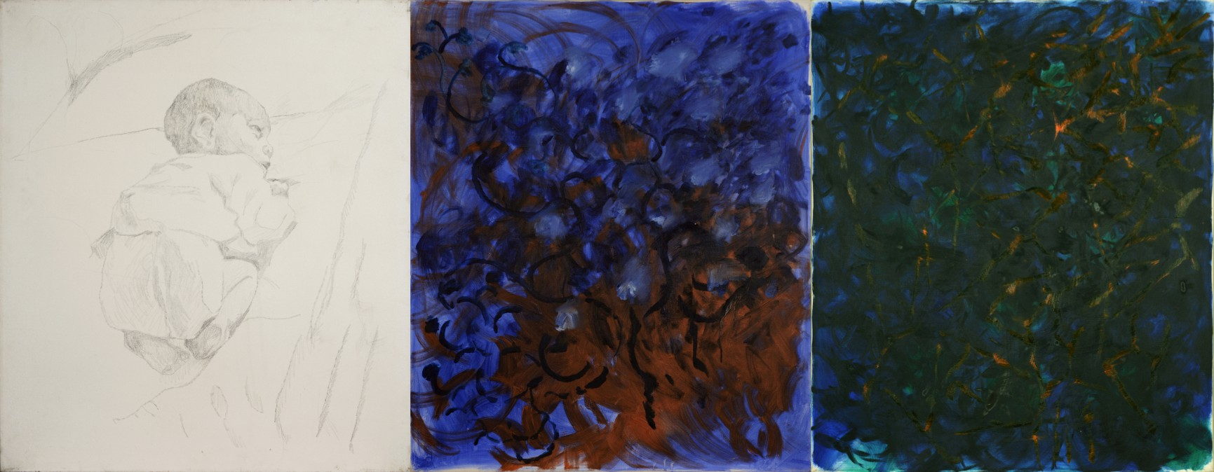 Ido at 7 Days, oil and pencil on paper, 1989, 85/100 cm, 85/100 cm, 85/100 cm